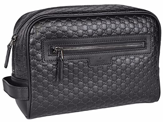d257a09058a Image Unavailable. Image not available for. Colour  Gucci Men s Leather  Micro GG Guccissima Large Toiletry Dopp Bag (Black)