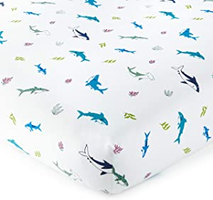 Wildkin Kids 100% Cotton Fitted Crib Sheet, Super Soft and Breathable Cotton Material, Certified Oeko-TEX Standard 100, Measures 52 x 28 x 8 Inches, BPA-Free, Olive Kids (Shark Attack)