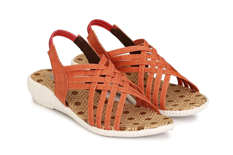 34313fa33890 Trilokani Girls Orange Designer Sandal  Buy Online at Low Prices in India -  Amazon.in