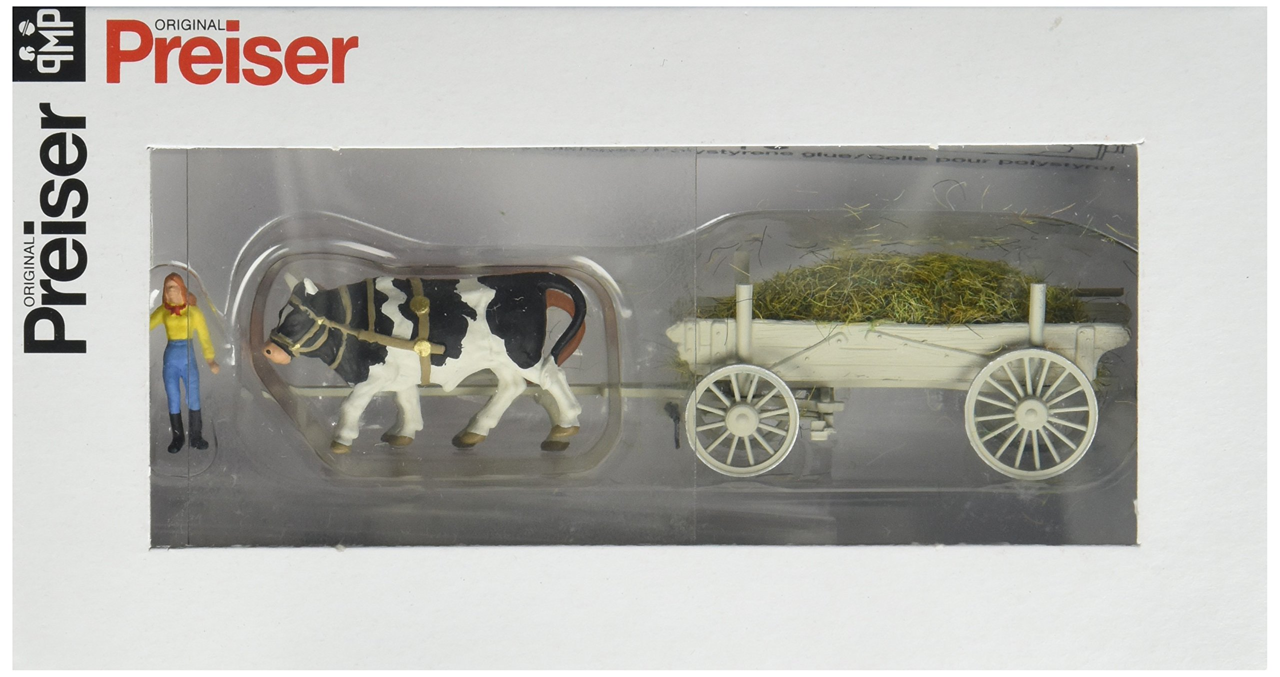 Preiser 30474 Horse Drawn Wagon Manure Wagon w/Driver, Load & Ox HO Scale Vehicles Model Figure