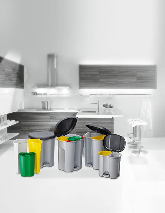 Rotho Duo Cubo de basura con dos compartimentos, c/u de 10 l, separador de basuras con función de pedal, cerrable contra olores, 39 x 32 x 40,5 cm (LxAnxAl) ...