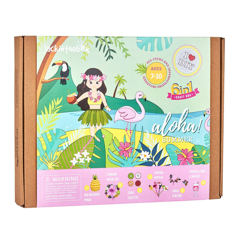 Jackinthebox アロハ サマークラフトキット 美しいフェルトパイナップル裁縫キット 6種類のクラフトイン1 7歳から10歳までの女の子に最適なギフト (6点) B07PJ796X1