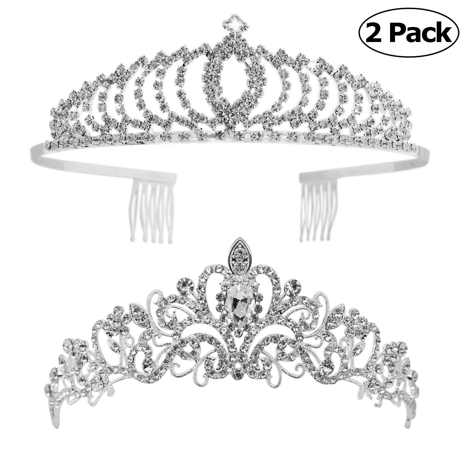 Tiaras and Crowns,Vinsco 2 Pack Crystal Tiara Crown Headband Headpiece Rhinestone Hair Jewelry for Women Ladies Little Girls Bridal Bride Princess Queen Birthday Wedding Pageant Prom Party Sliver