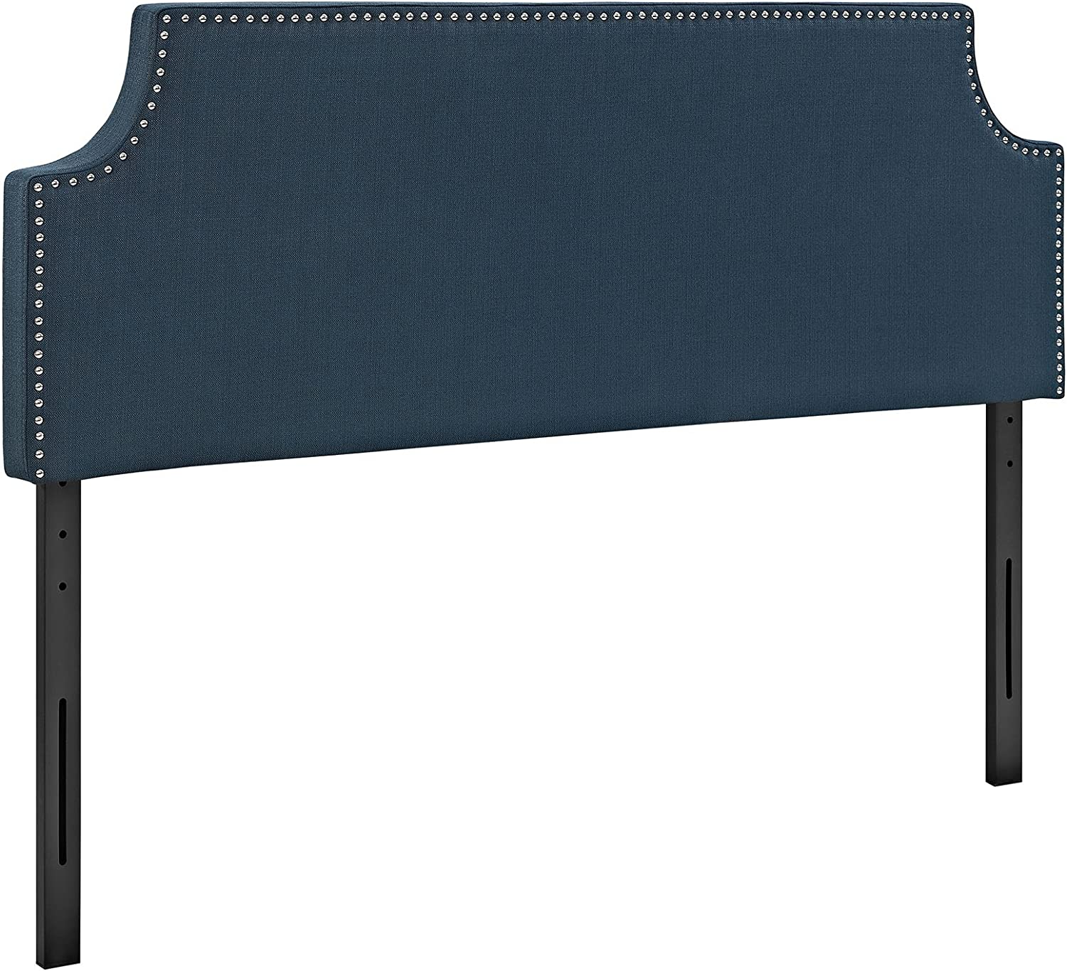 Modway Laura Linen Fabric Upholstered Queen Size Headboard with Cut-Out Edges and Nailhead Trim in Azure