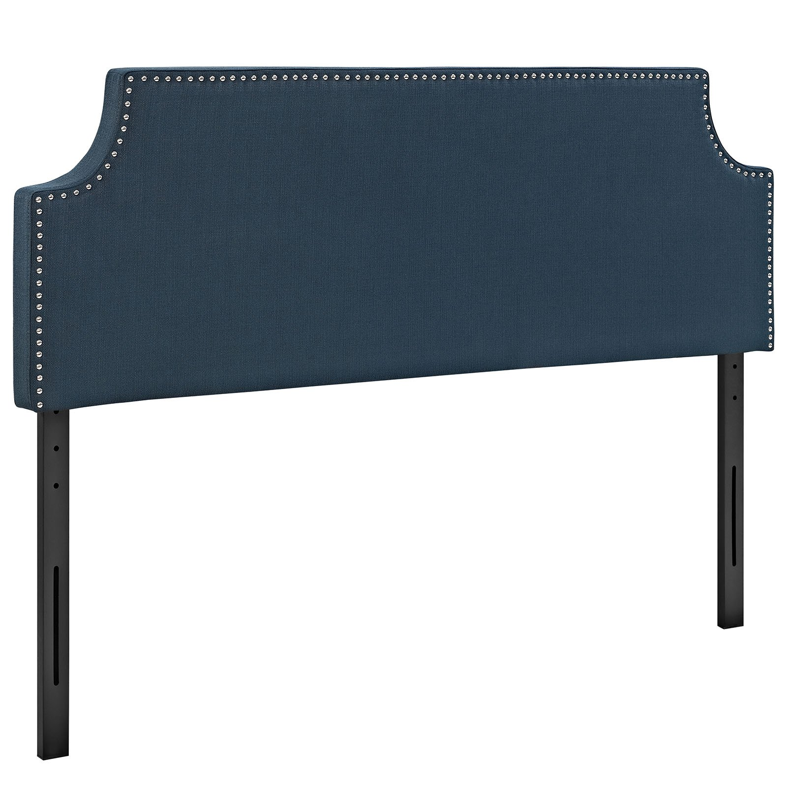 Modway Laura Upholstered Fabric Headboard Full Size with Cut-Out Edges and Nailhead Trim in Azure