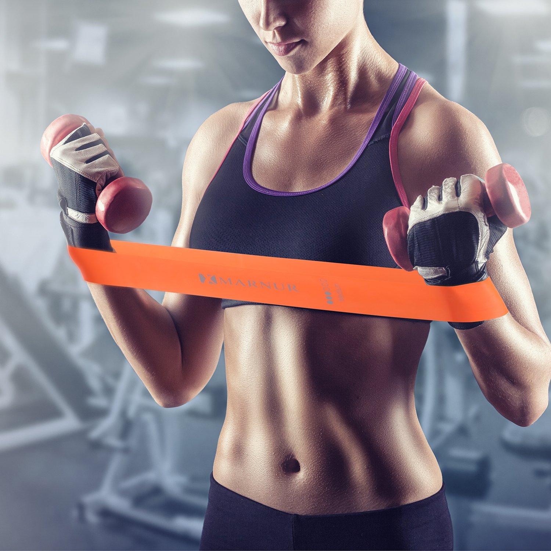MARNUR Entrenamiento bandas Cintas de fitness widerstandsbänder krafttraining Home Fitness & Bodybuilding Yoga Pilates Pierna Brazo Juego de 6 Estiramiento ...