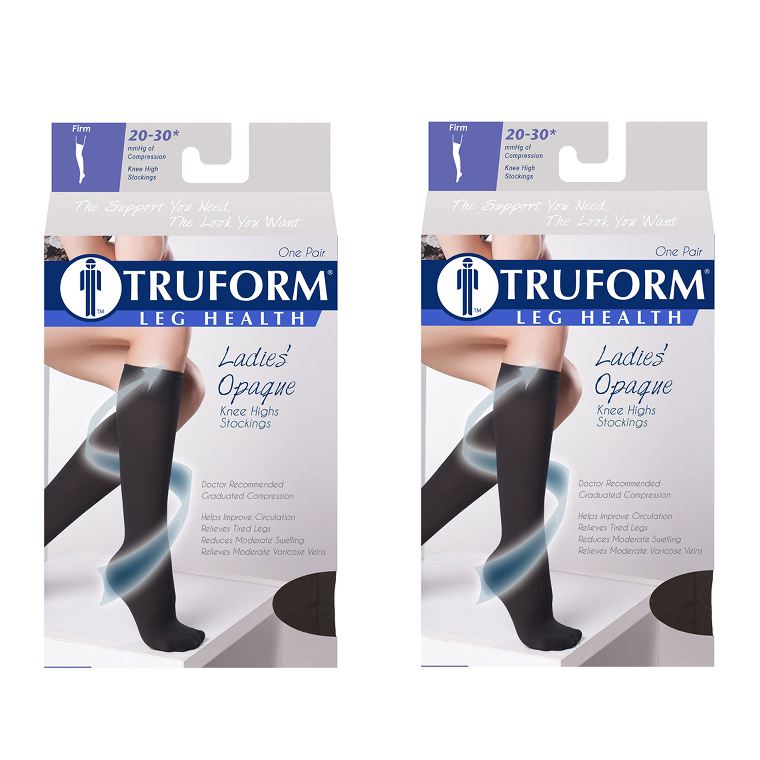 Truform Women's Compression 20-30 mmHg Knee High Open Toe Stockings Black, X-Large, 2 Count by Truform (Image #1)
