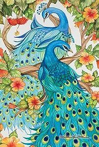 Toland Home Garden Precious Peacocks 12.5 x 18 Inch Decorative Colorful Tropical Bird Feather Hibiscus Flower Garden Flag