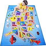 Large Kids Carpet Playmat rug MAP OF AMERICA USA educational play mat for playing cars & toys. Has road traffic system,city light, parking, overall safe activity game center children 60