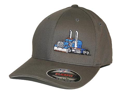 4edff6cc JUST RIDE Trucker Hat Big Rig Tractor Semi Flexfit Cap Truck Driver (S/M