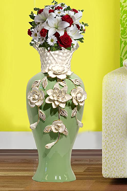 Amazon Com My Aashis Tall Green Ceramic Flower Vases 16 High Decorative Vases With Handmade Porcelain White Flowers For Living Room Kitchen Table Home Office Centerpiece Wedding Party Or As A Gift Home