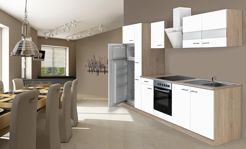respekta Einbau Küche Küchenzeile 300 cm Eiche Sonoma Sägerau Weiss inkl. Kühl- Gefrierkombi & Ceranfeld