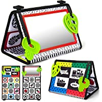 teytoy Tummy Time Floor Mirror, Double High Contrast Activity Developmental Black and White Baby Toys for Infants Boys…
