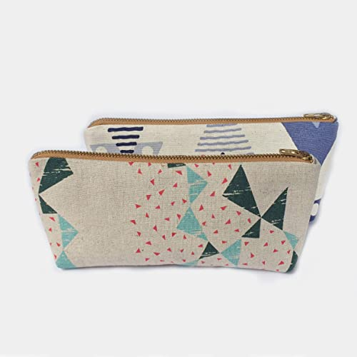 25cf1052b675 Amazon.com: Linen Pencil Case Small Makeup Bag, Handmade Canvas ...