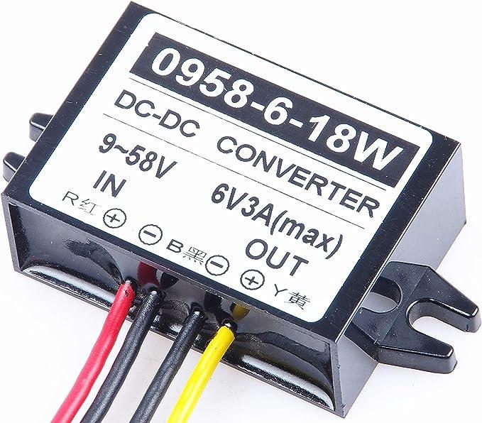 Changes to 6V 3A 18W Step Down car Power inverters Input DC 9V-58V Output 6V Waterproof Power adapters KNACRO Buck Boltage Converters 12V 24V 36V 48V 9V-58V