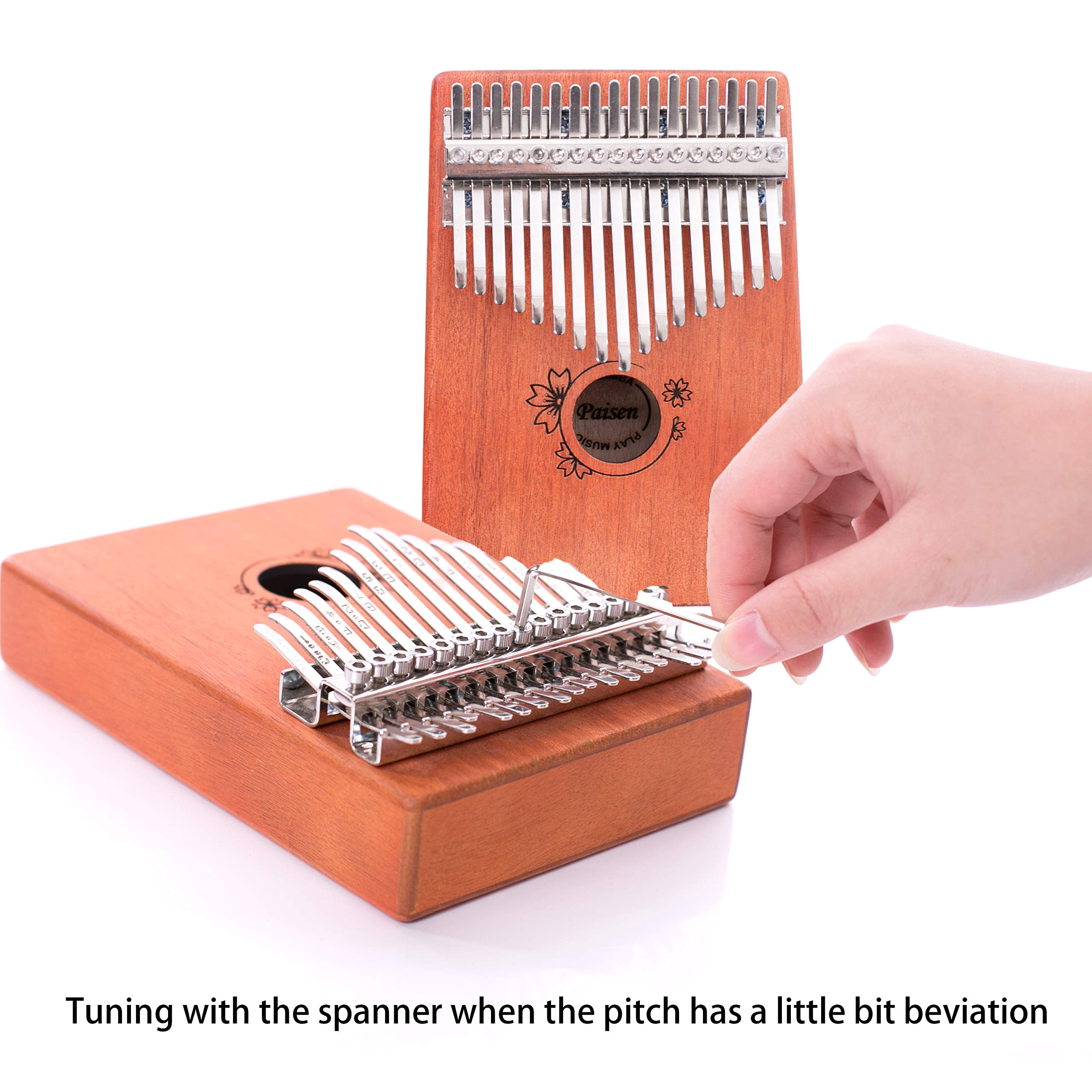 Paisen Kalimba 17 keys Thumb Piano with Study Instruction and Tune Hammer,Mahogany Wood Finger Piano with Portable Carrying Bag and Shoulder Strap for Kids Adult Beginners by Paisen (Image #5)