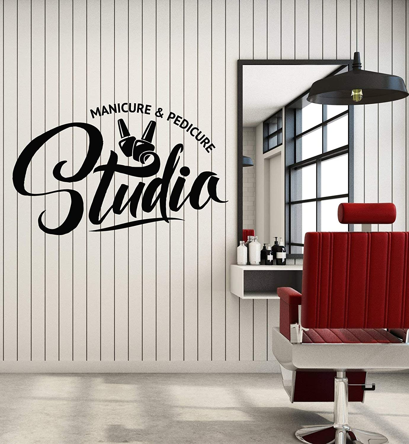 Vinyl Wall Decal Manicure Pedicure Nail Beauty Studio Words Stickers Mural Large Decor (g1246) Black 11 in X 17.5 in