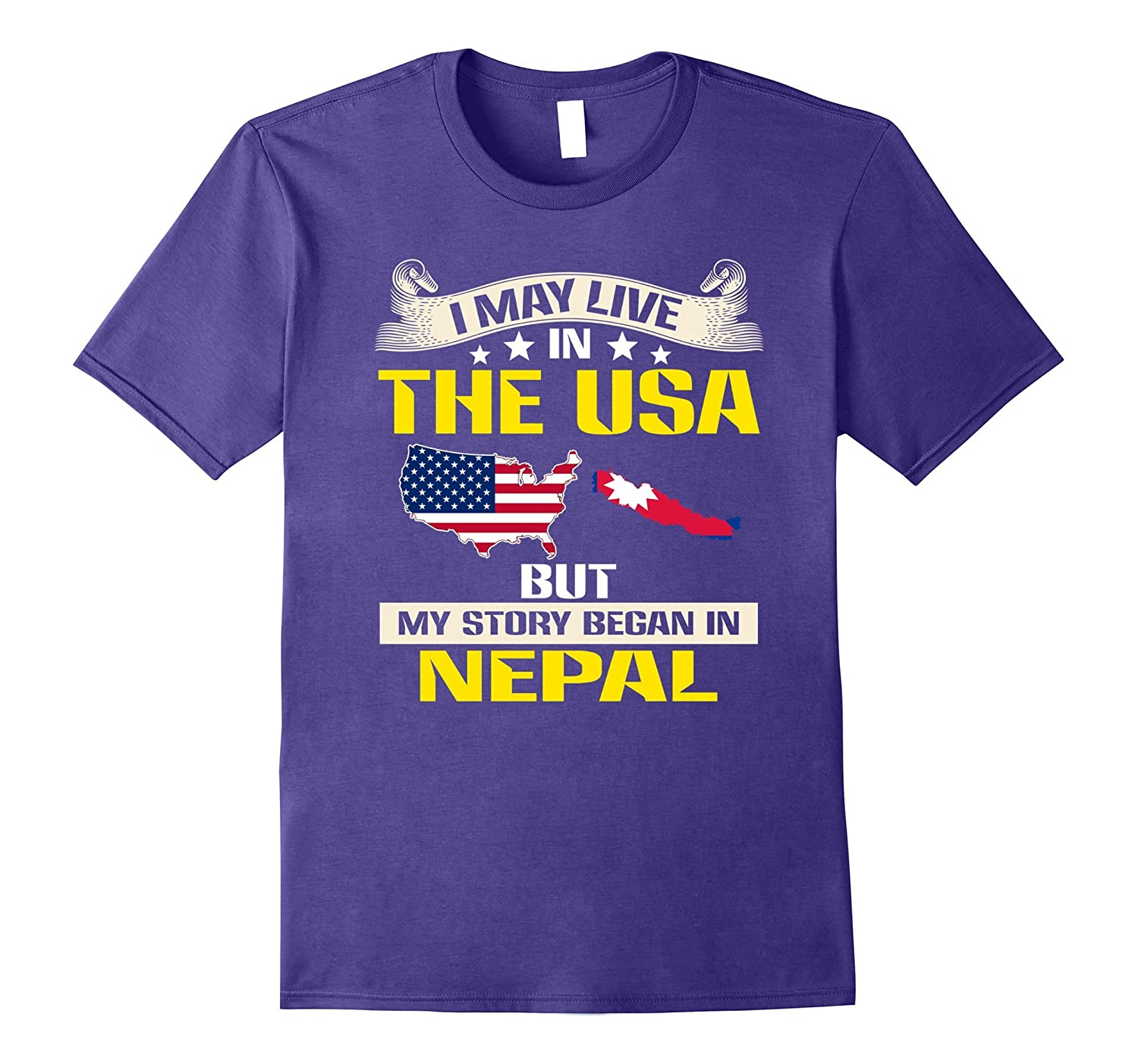 Live In usa – Born In Nepal Flag Map T-Shirt – Hntee.com