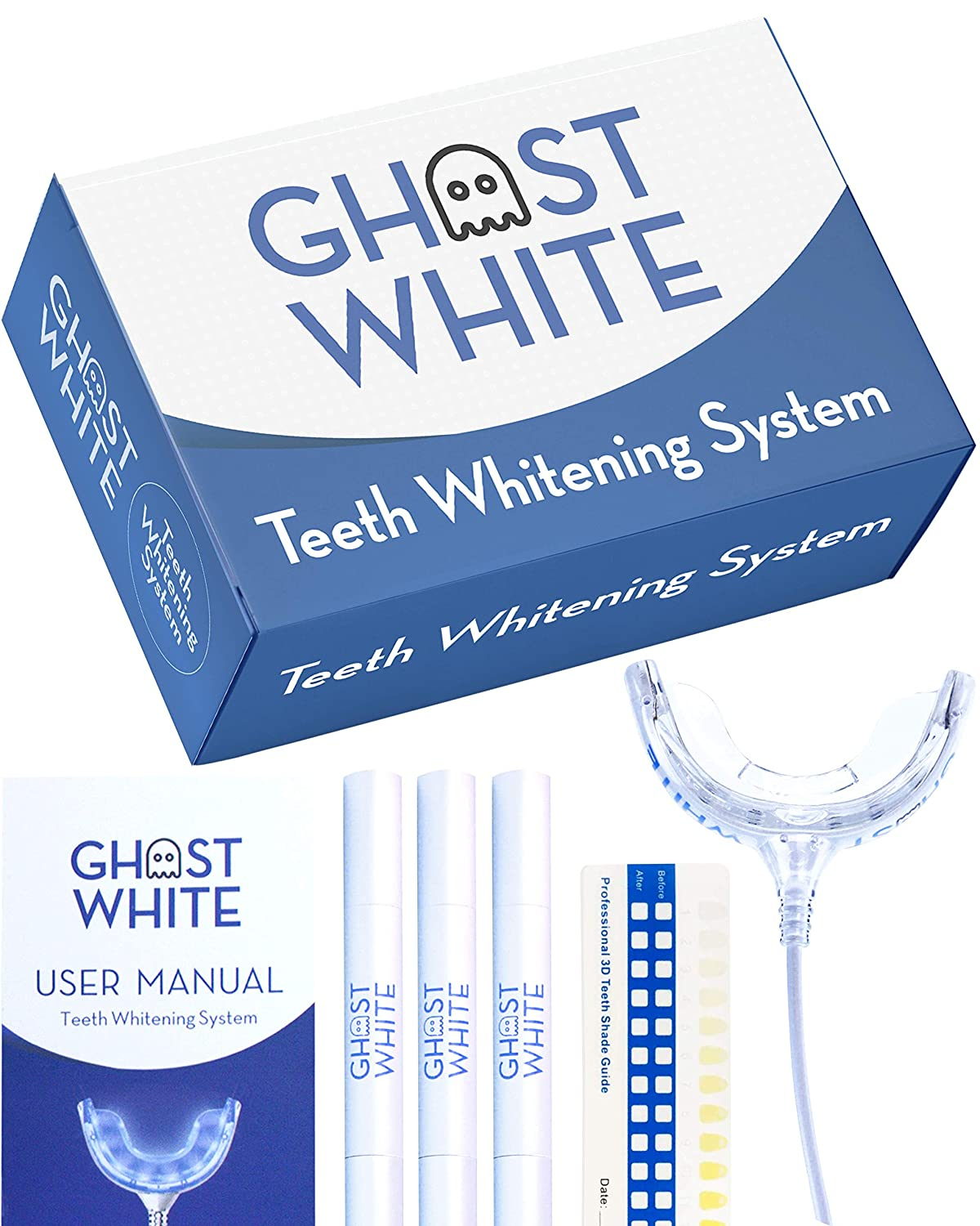Ghost White Teeth Whitening Kit - Professional LED Light for Whiter Teeth Without Sensitivity, Includes 3 Smart Teeth Whitening Gel Refill Pens, Whitens in Less Than 10 Minutes