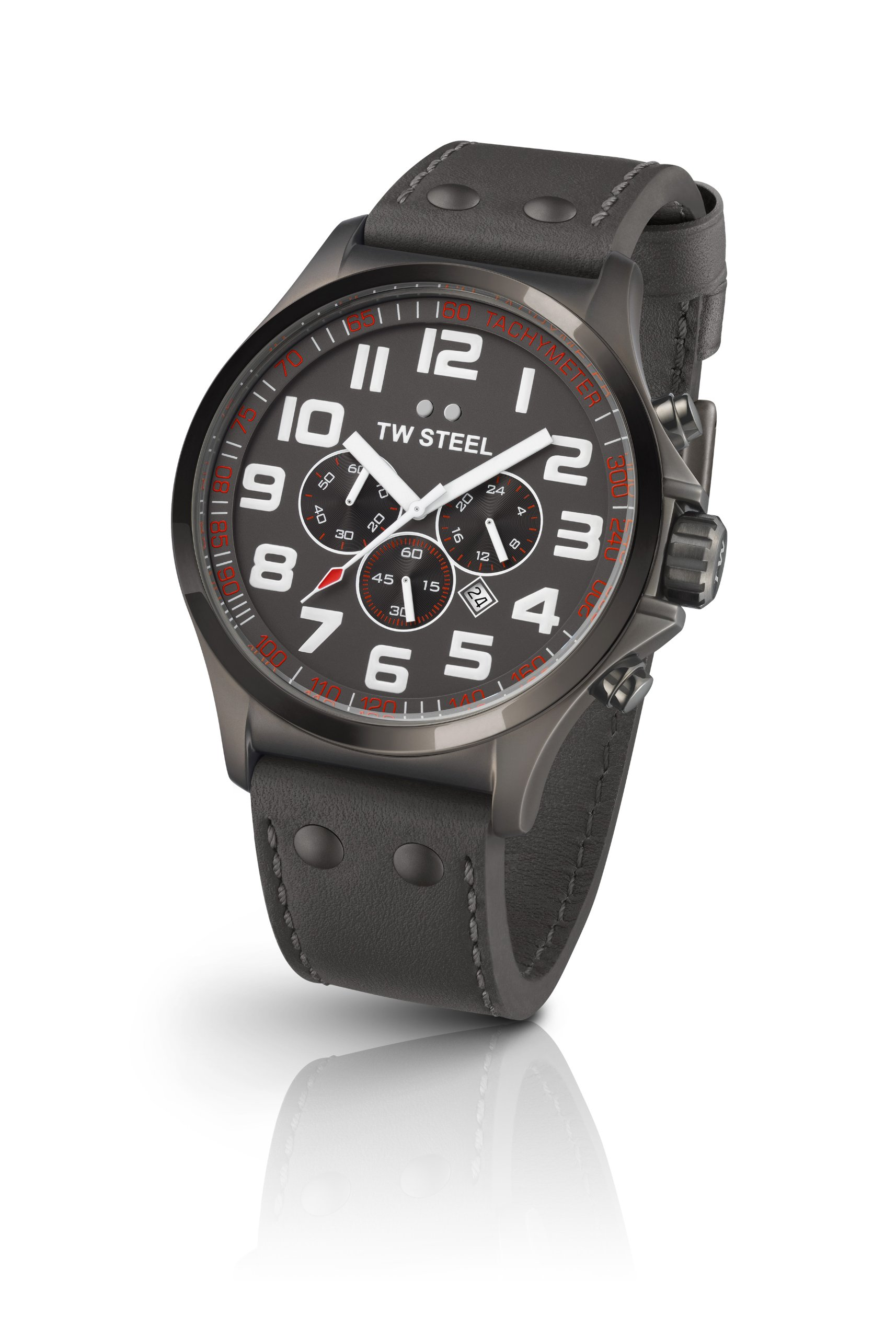 TW Steel Pilot Unisex Quartz Watch with Grey Dial Chronograph Display and Grey Leather Strap TW422 by TW Steel