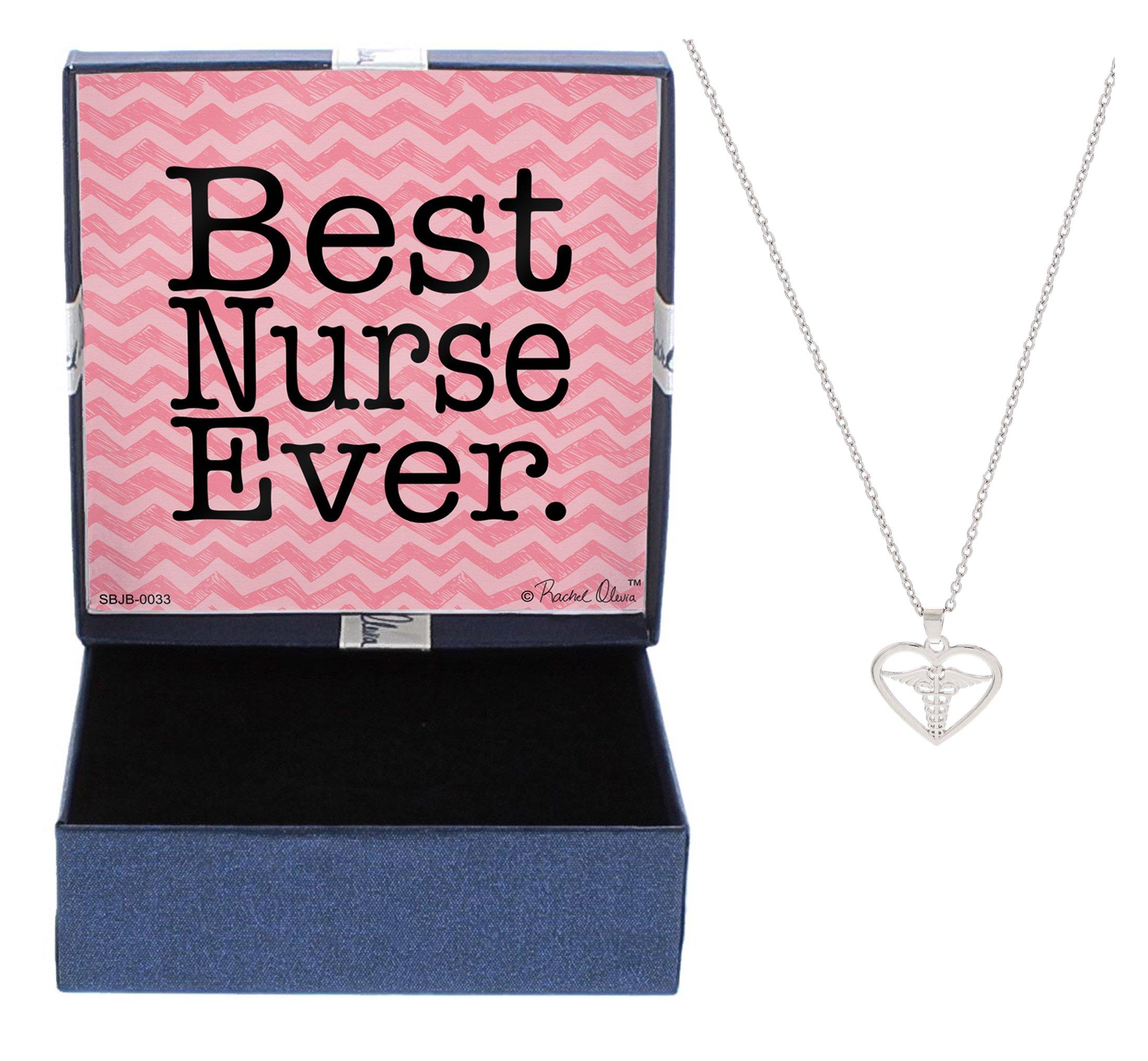 Nurse Gifts Best Nurse Ever Necklace Silver-Tone Heart Caduceus Pendant Necklace Jewelry Box Gift Jewelry Nurse RN Nurse Graduation Gift Mom Nurse Mom Gift