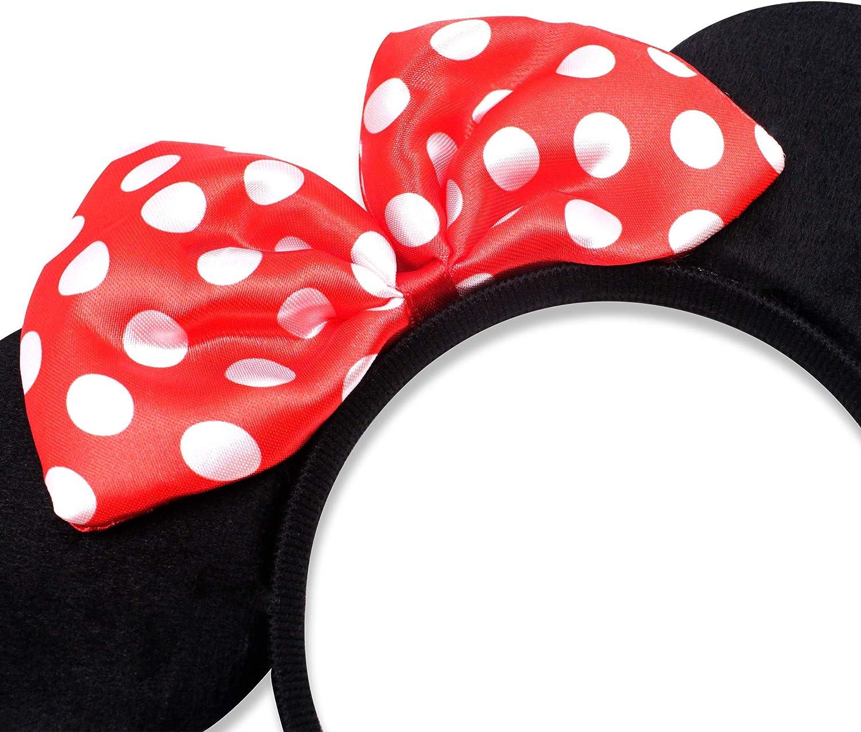 Finex disfraz de Mickey Minnie Mouse de lujo de tela orejas ...