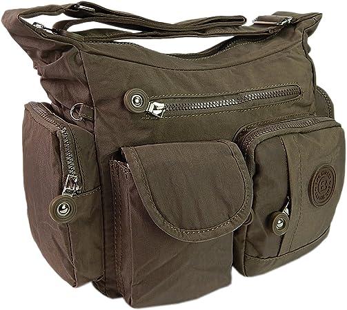 Braun ekavale Leichte hochwertige Damen-Handtasche Umh/ängetasche aus wasserabwesendem Crinkle Nylon