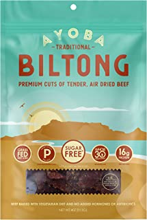 product image for Ayoba Biltong - Grass Fed, Keto and Paleo Certified Air-Dried Beef Snack - Better Than Jerky Tender Steak Cuts - Whole 30 Approved, No Sugar, Gluten Free, No Nitrates (4 Ounce)