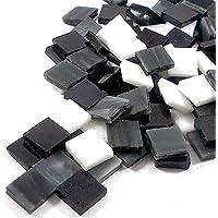Sai Mosaic Art Stain Glass Mosaic Pcs, Black and White Assortment 10x10mm, 100Gm Pack, 145-150 Pcs