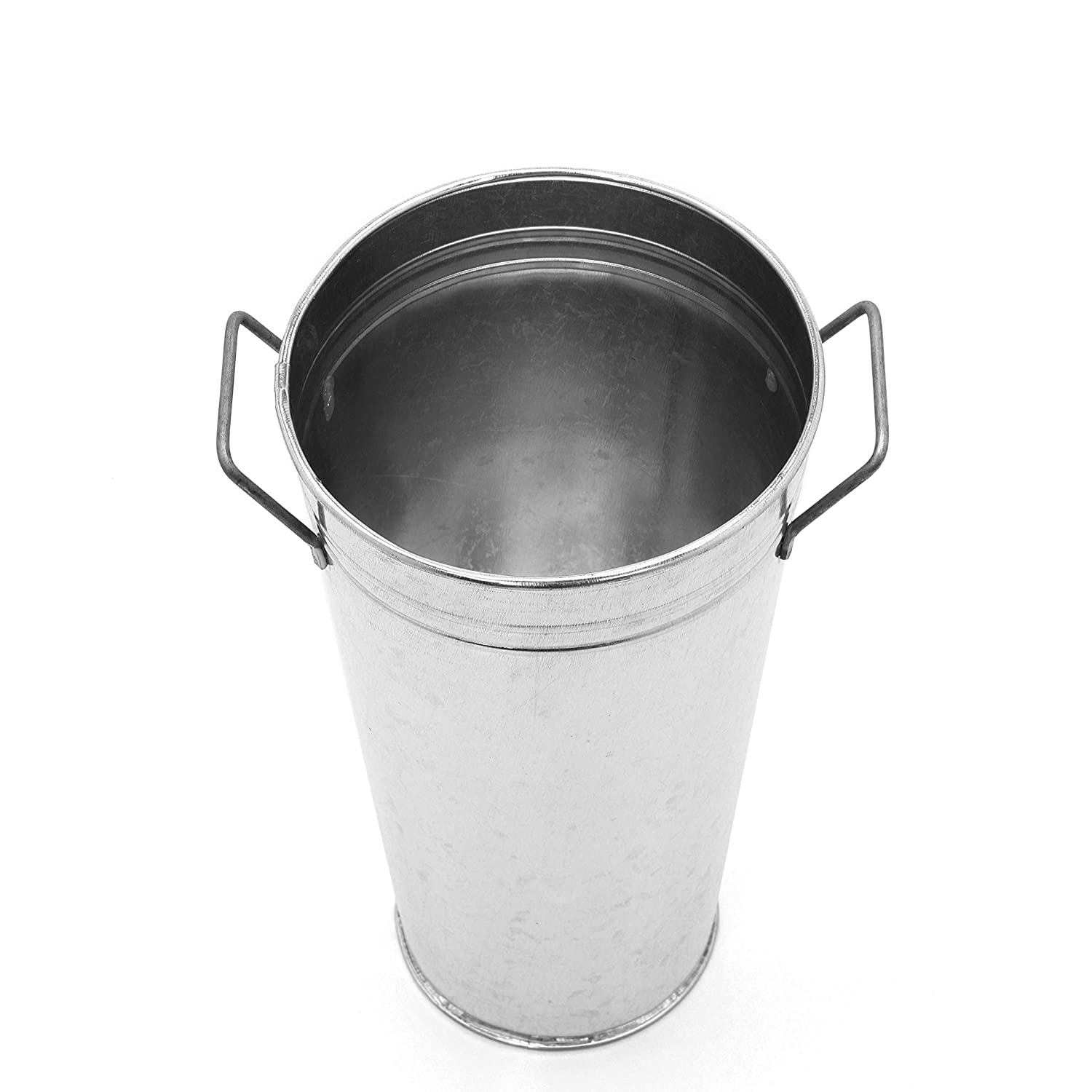 Spa and Aromatherapy Settings O5 HG Global FBA-G96733ON-1-EA for Weddings Gift Ideal for Dried Floral Arrangements at Home Hosley Set of 3 Galvanized French Bucket//Vase with Handles- 9 High
