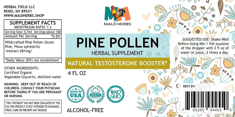 Pine Pollen Testosterone Tincture Alcohol-Free Liquid Extract, Pine Pollen Scots Pine, Pinus sylvestris 2×4 FL OZ