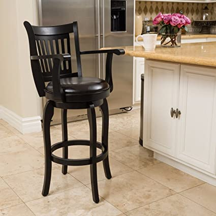 Outstanding Amazon Com New Black With Espresso Traditional Barstool Squirreltailoven Fun Painted Chair Ideas Images Squirreltailovenorg