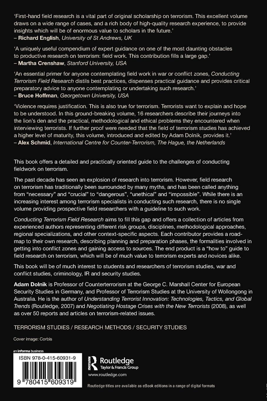 Conducting Terrorism Field Research (Contemporary Terrorism Studies):  Amazon.co.uk: Adam Dolnik: 9780415609319: Books
