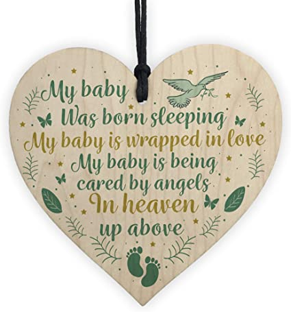 Red Ocean Baby Memorial Plaque Wooden Heart Sign Miscarriage Baby Loss Stillborn Bereavement Sign Gift For Mum And Dad Amazon Co Uk Kitchen Home