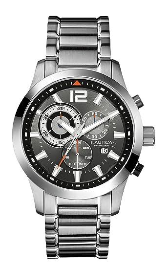 Nautica A17547G - Reloj cronógrafo de cuarzo para hombre, correa de acero inoxidable color plateado