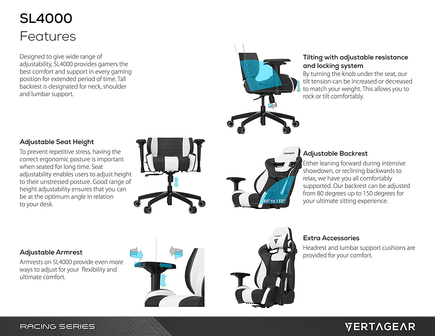 com vertagear s line sl racing series gaming chair com vertagear s line sl4000 racing series gaming chair black blue rev 2 kitchen dining
