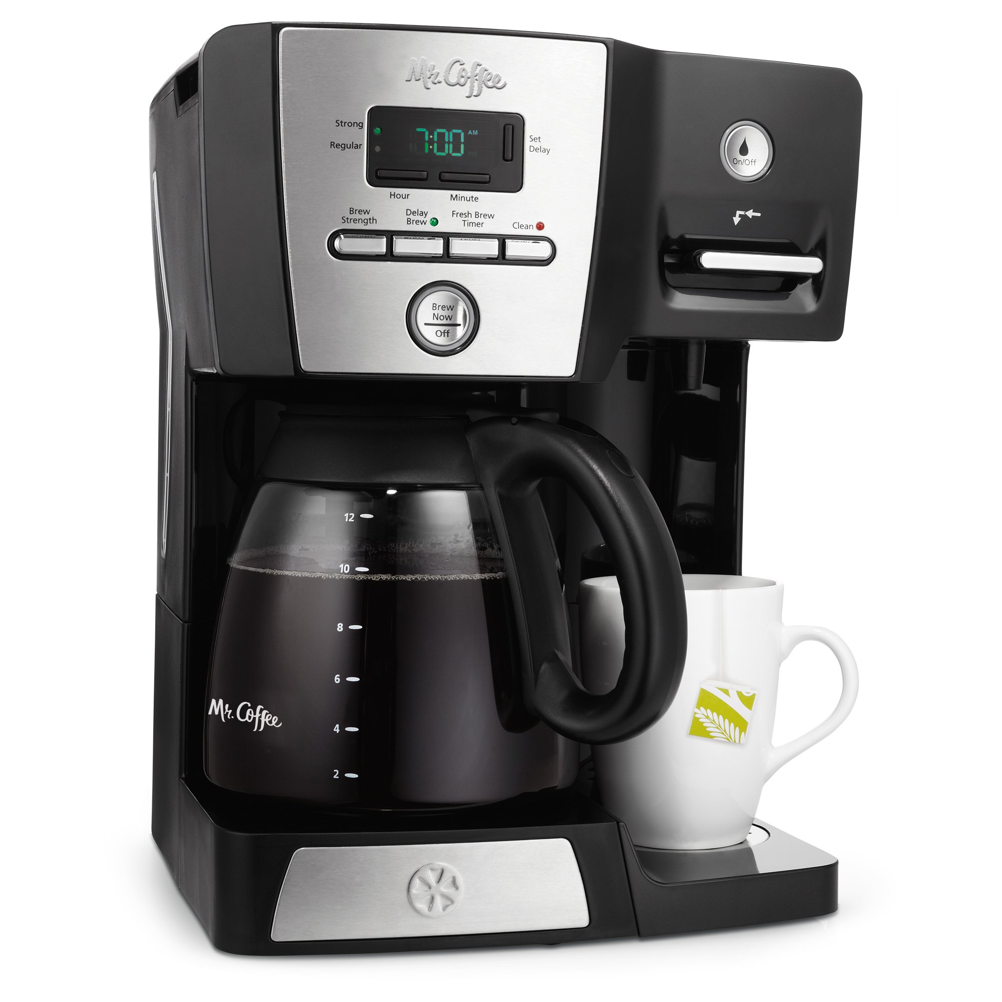 Mr. Coffee Versatile Brew 12-Cup Programmable Coffee Maker with 16 Oz. Hot Water Dispenser, Black/Chrome by Mr. Coffee