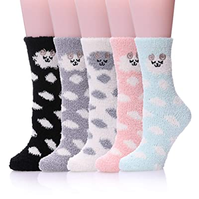 Dosoni Women Girl Fuzzy Slipper Socks-Super Soft Comfort Thick Warm Microfiber Home Socks 5 Pack Animal Sheeps at Women's Clothing store