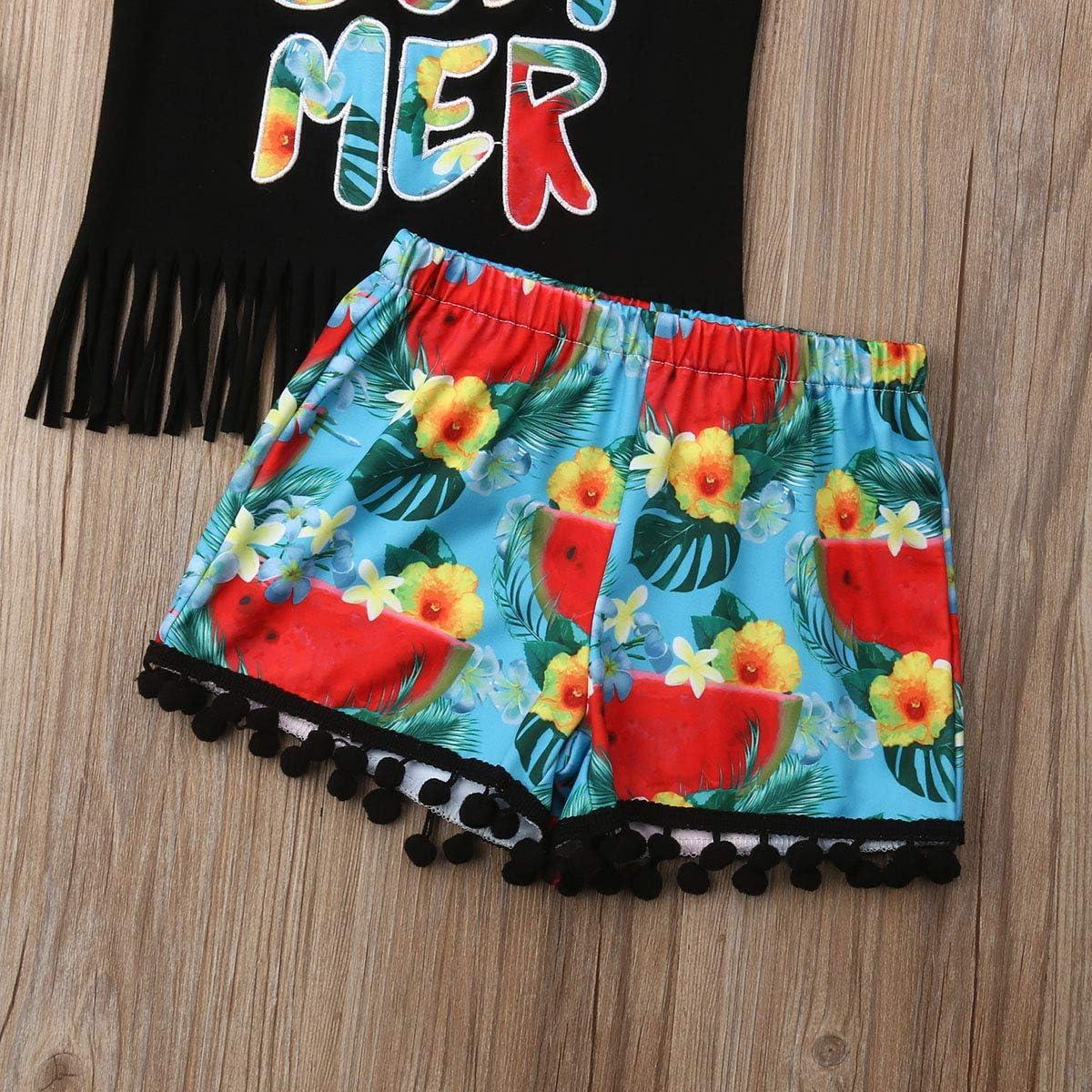 sandanper Toddler Baby Girl Summer Floral PrintTassel Croptops Sleeveless T ShirtsShorts Clothing Set Outfits