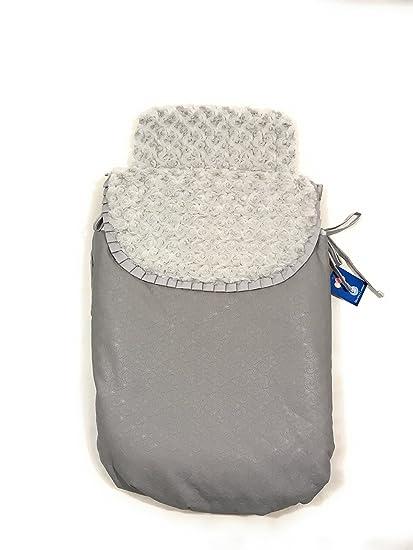 Saco Capazo + Funda Ajustable Danielstore Universal Carrito Bebé.. Polipiel Serie Espiral Color gris