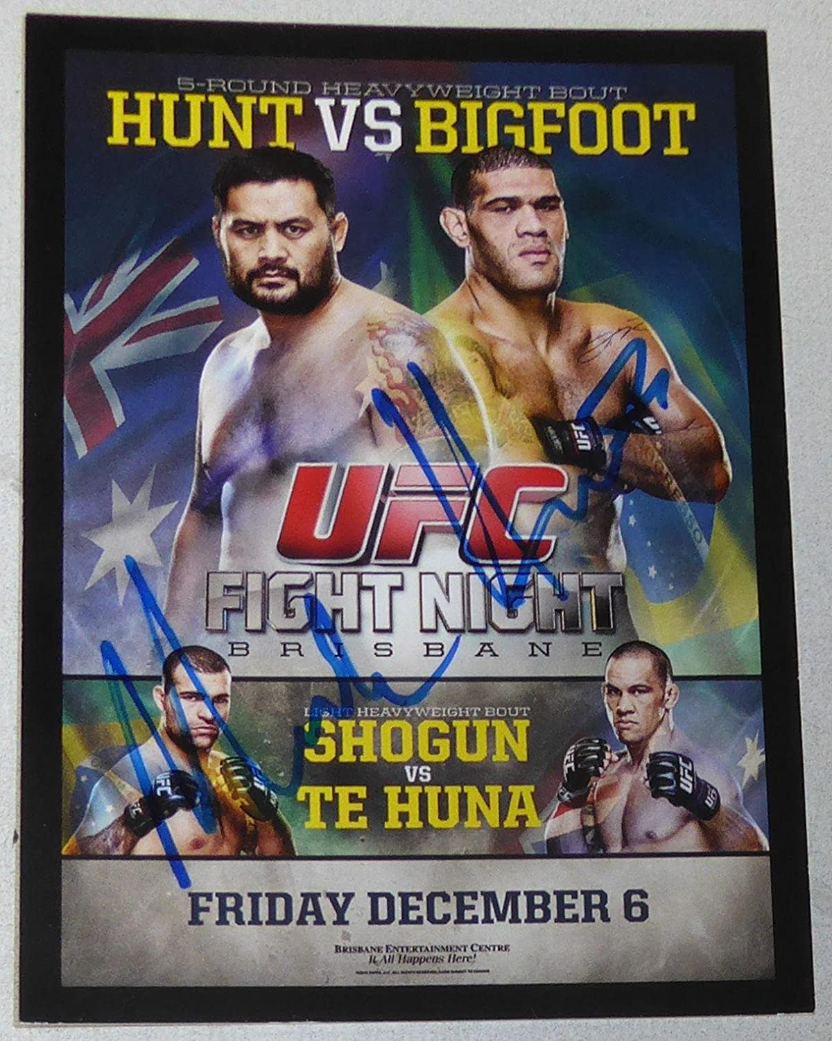 Mark Hunt Signed 2015 Topps Champions Ufc Fight Night Bigfoot Silva Poster Card Autographed Ufc Event Poster At Amazon S Sports Collectibles Store