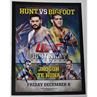 $153 » Mark Hunt Signed 2015 Topps Champions UFC Fight Night Bigfoot Silva Poster Card - Autographed UFC Event Poster