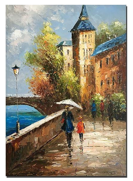 60x90 cm - 100% dipinto a mano pittura ad olio - Pittura a Olio  Mediterraneo Paesaggio Su Tela Dipinto Ombrello Famiglia Decorazioni Da  Parete Per ...