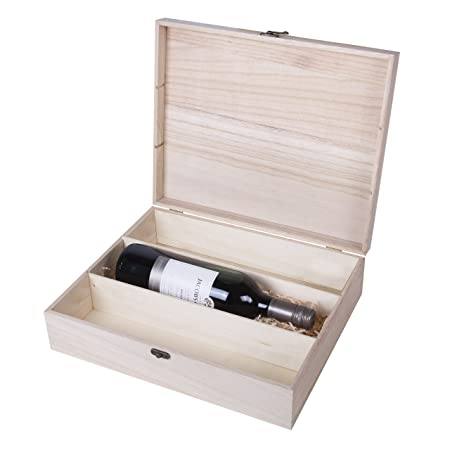 Wooden Wine Box Bottle Gift Decoupage Craft Chest 3 Space Brown