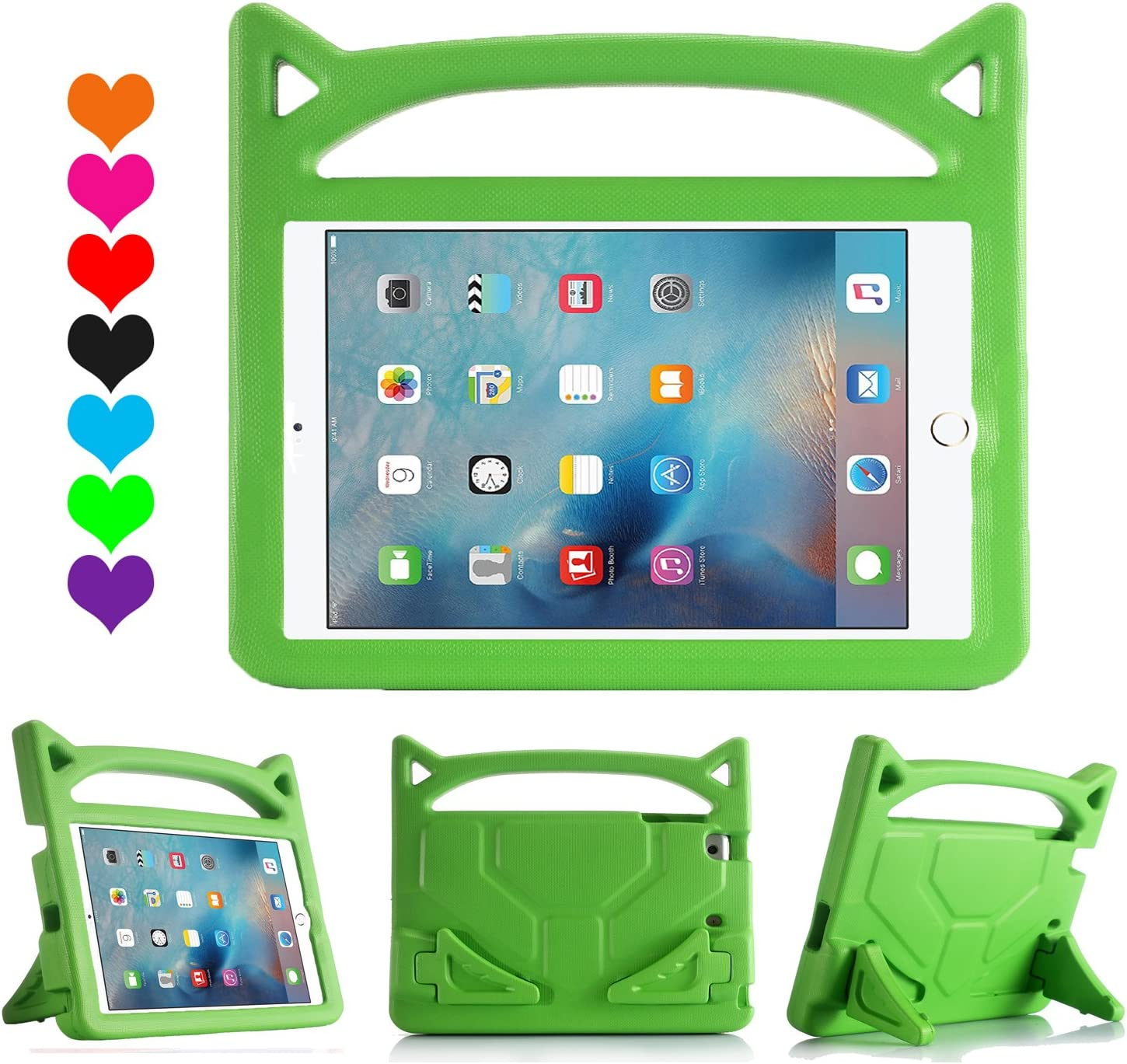 iPad 9.7 Case 2018/2017, iPad Pro 9.7 Case, iPad Air 2 Case, Huaup Kids Shock Proof Handle Light Weight Super Protective Stand Cover Case for Apple iPad 5 6 th/Air 2 / Pro 9.7 Tablet (Green)