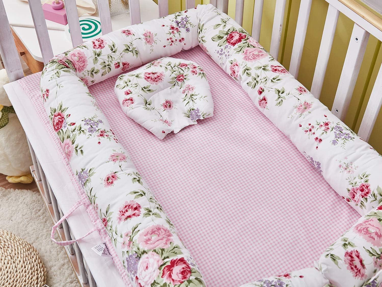 Nido Transpirable para reci/én Nacido rosa floral Nido de beb/é TEALP Tumbona para beb/é Edred/ón de beb/é con algod/ón org/ánico Supersoft