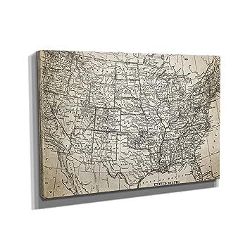 Nerdinger Vintage USA Map - Kunstdruck auf Leinwand (90x60 cm) zum ...