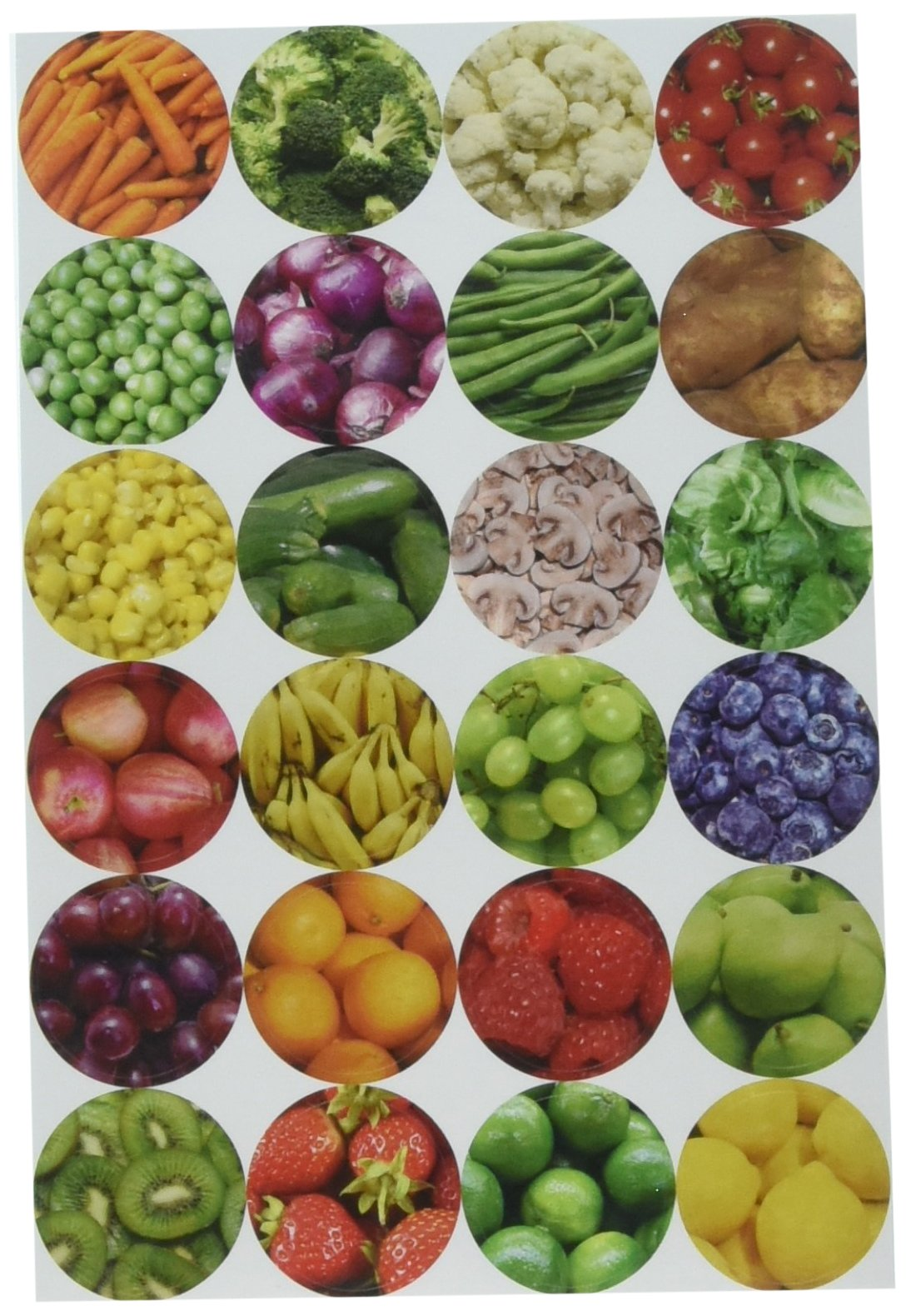 Hygloss Products Fruit & Veggie Themed Stickers 3/Pkg Circles by Hygloss (Image #2)