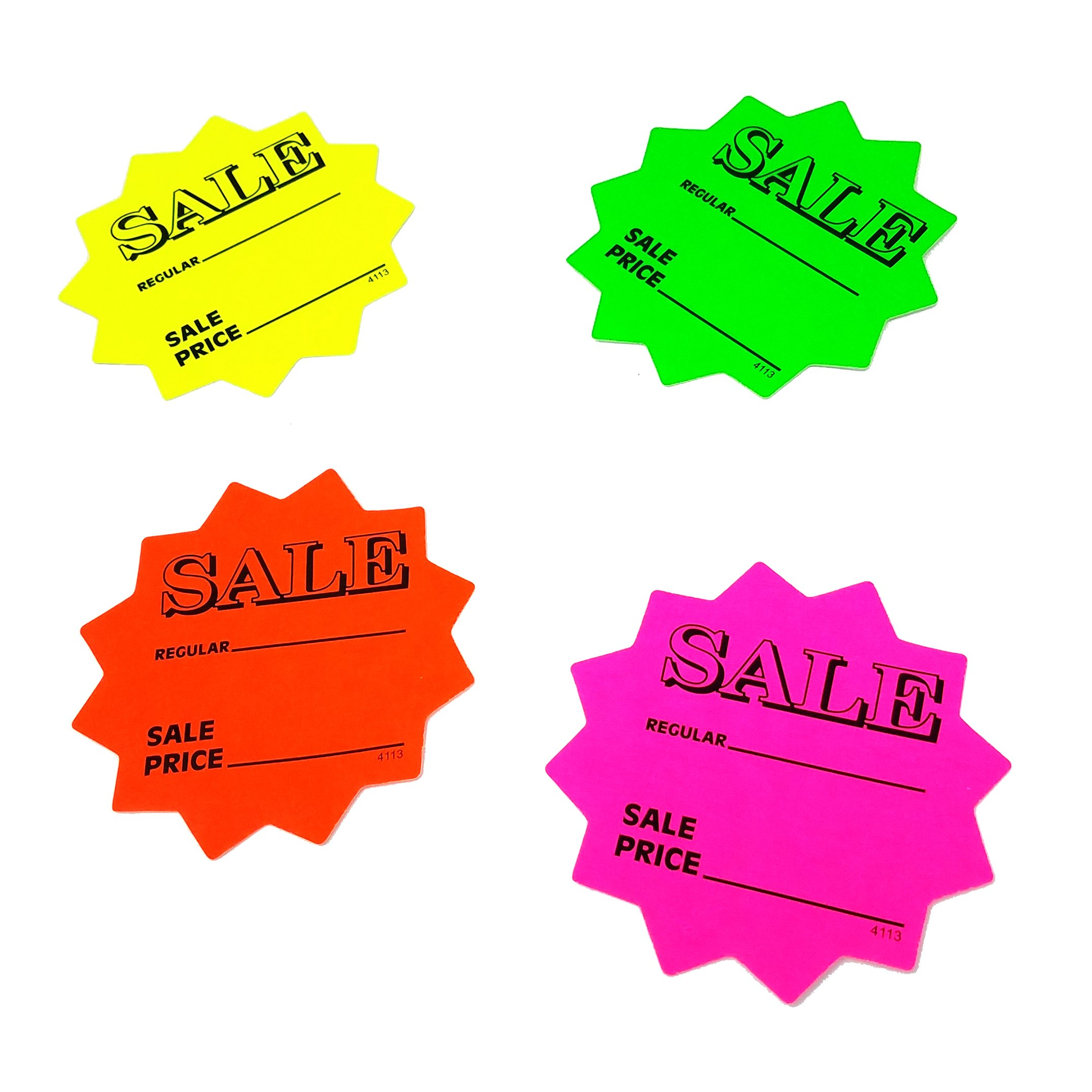 100 3'' Sale Price Signs Fluorescent Neon Die Cut Solar Star Burst Retail Cards 25 Each Color, 1 Pack by Price Cards