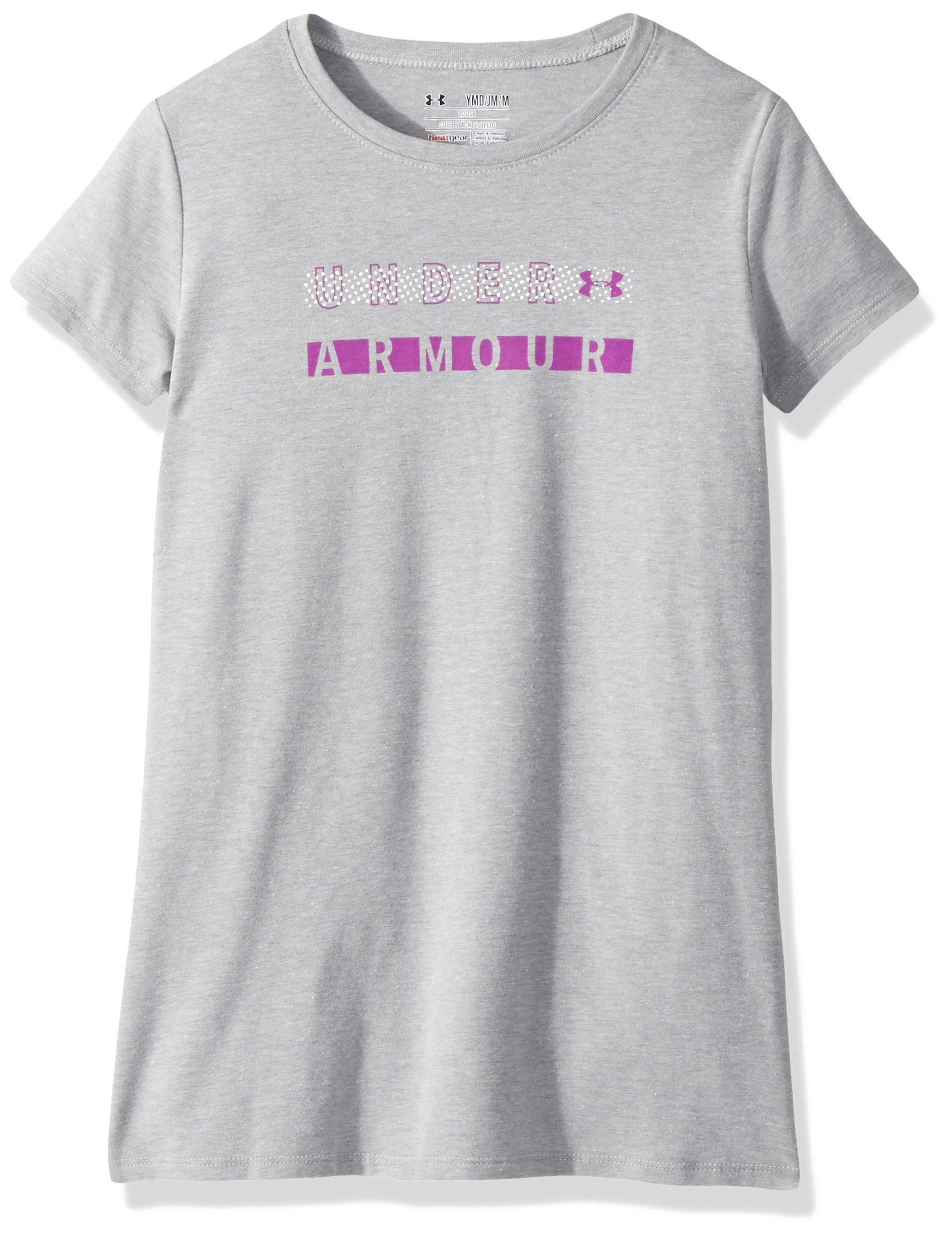 Under Armour Girls Dot Wordmark Short Sleeve Athletic Shirt, Steel Light Heather (035)/Purple Rave, Youth Large